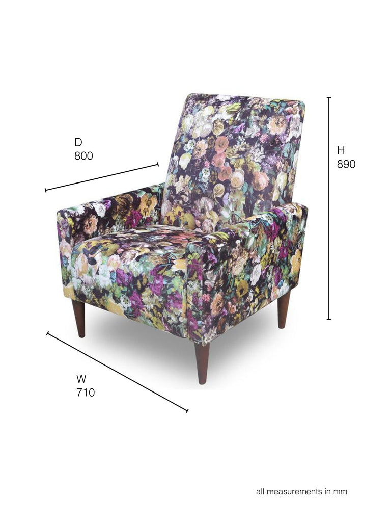 Marseille Armchair in floral fabric dimensions