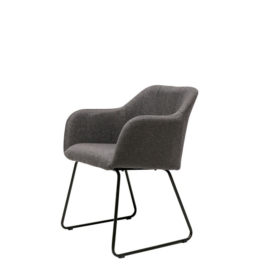 Folio fabric dining chair - charcoal side