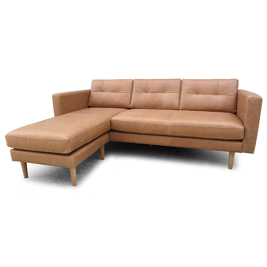 Hamptons 3 Seat Reversible Chaise - Tan Leather