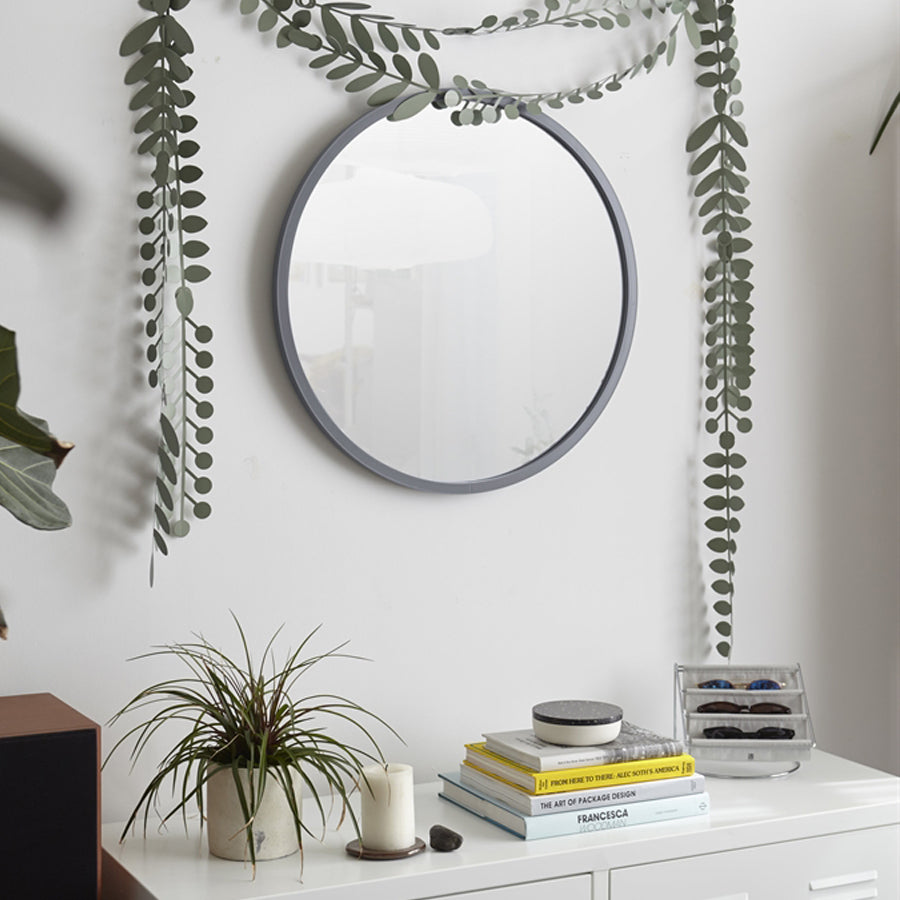 Umbra Hub Circle Wall Mirror - Grey - 610mm