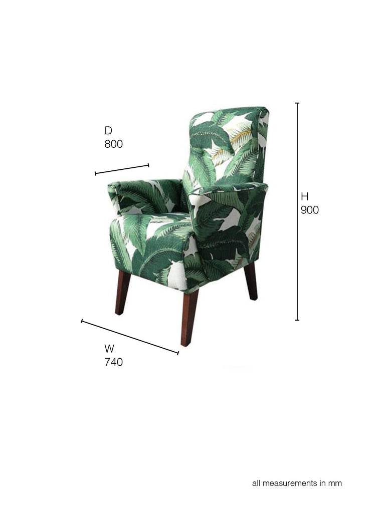 Lily Armchair in tropical leaf printed fabric dimensions