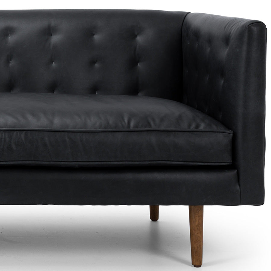 Yogi 3 seat Leather Sofa - Charme Black - leg detail