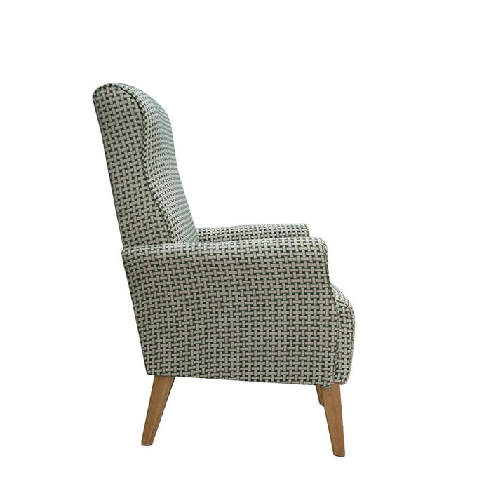 Lily Armchair green patterned fabric