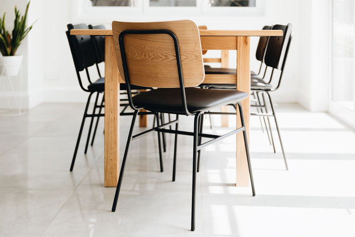 oak and metal dining chair
