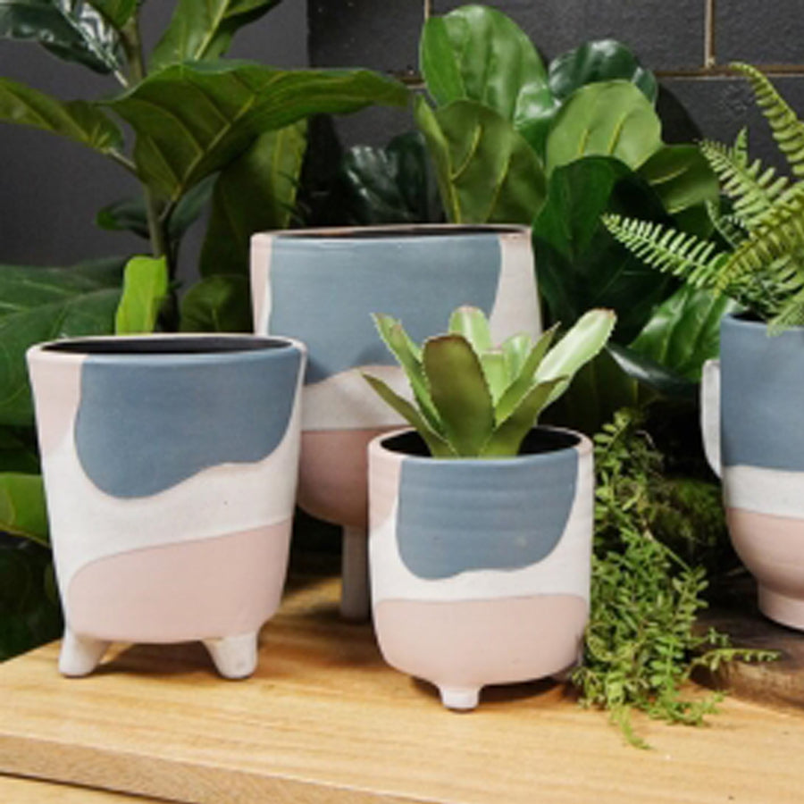 Marluz Terracotta Planter. White, Navy + Blue.