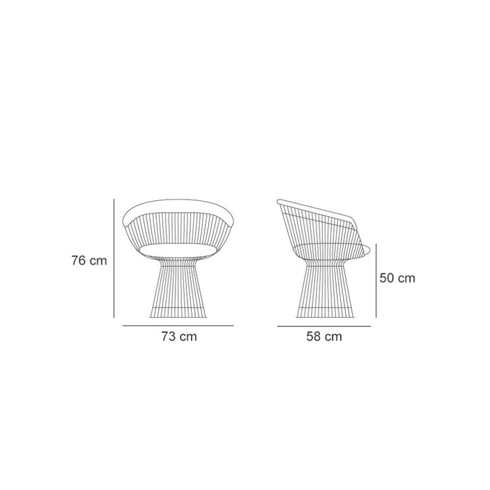 Platner Chair - Blue Velvet, measurements