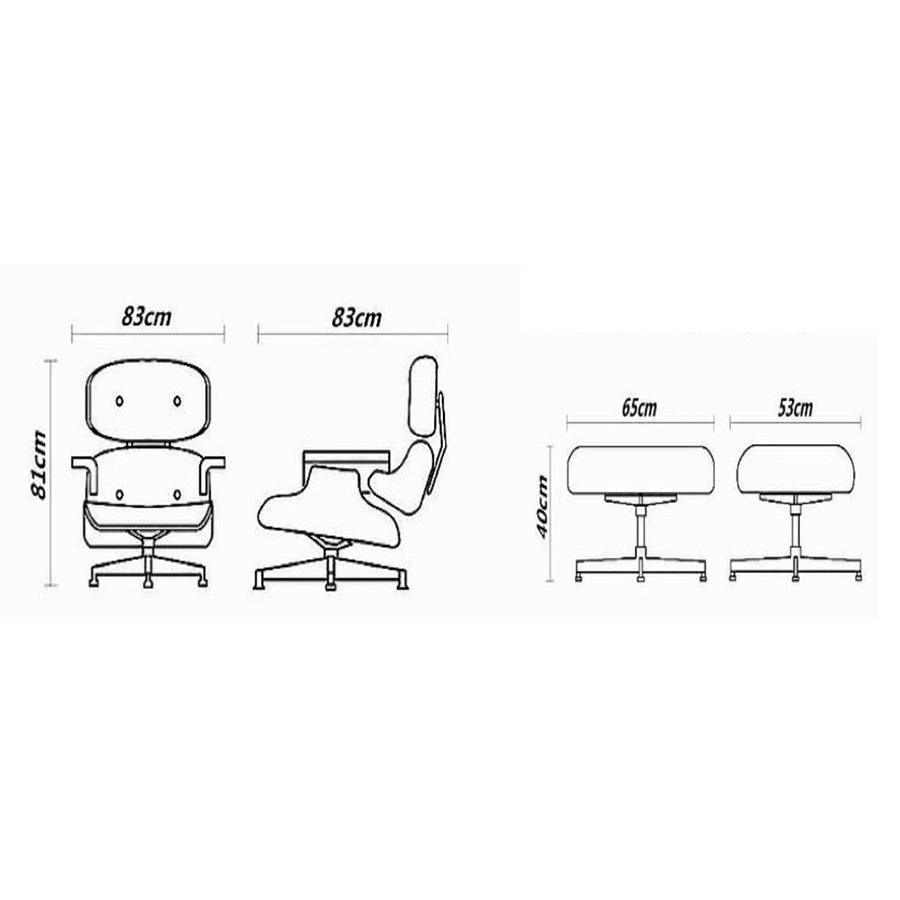Eames Lounge Chair + Ottoman - White Leather - Walnut Finish, measurements