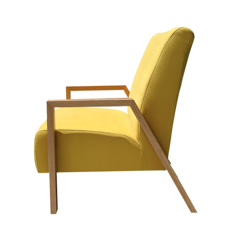 mogambo two seater sofa yellow with oak arms
