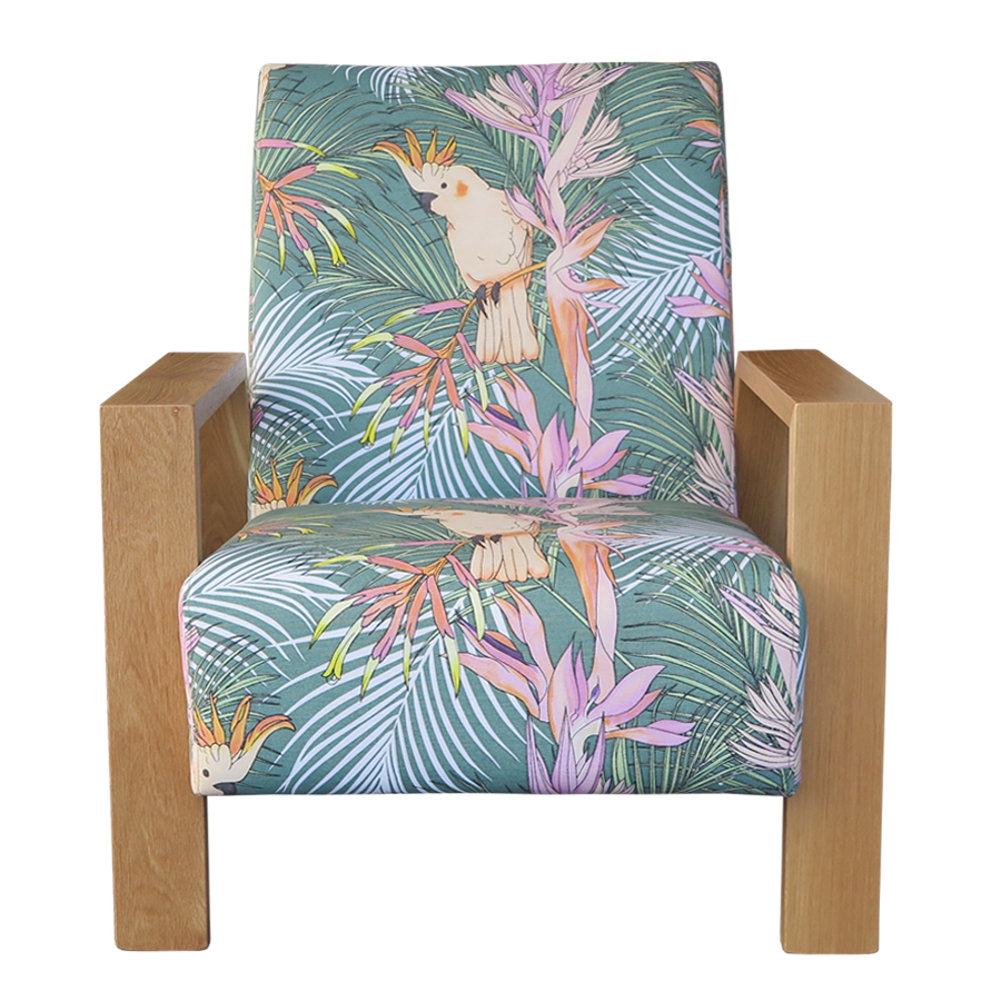 Mogambo Armchair in pastel tropical print