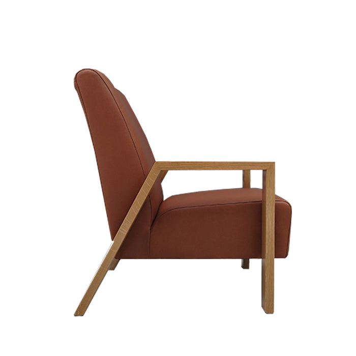 Mogambo Armchair tan leather with oak arms