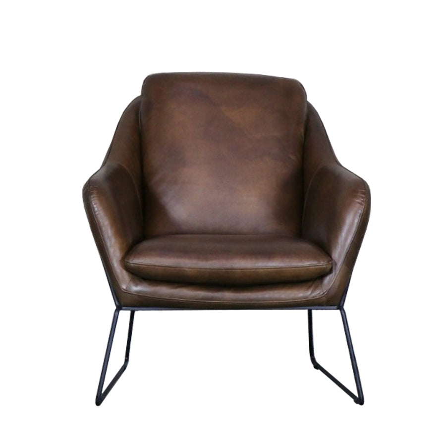 Nile leather armchair - brown
