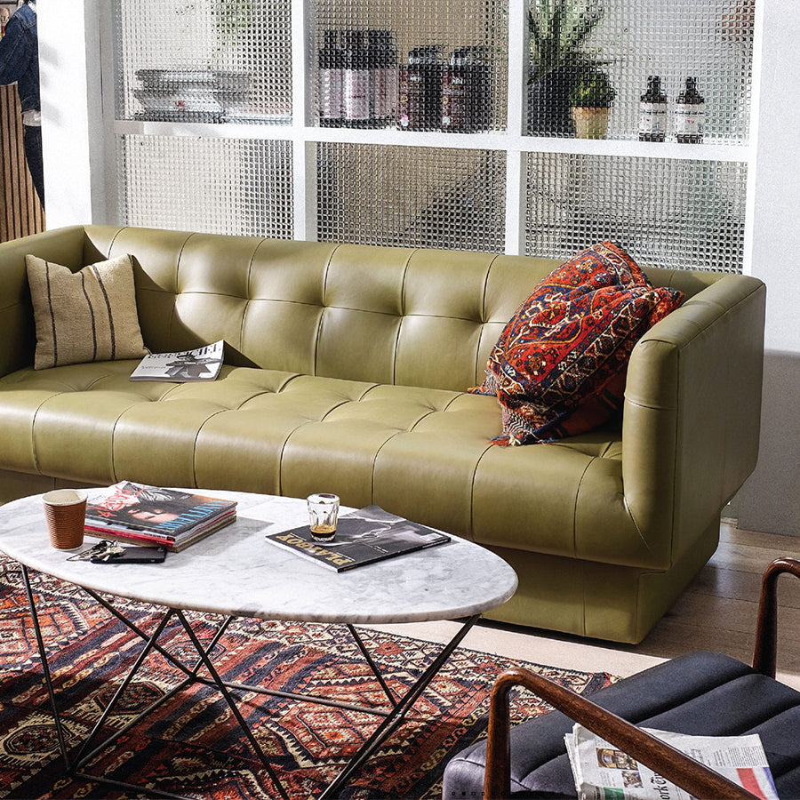 bruno leather 3 seat sofa