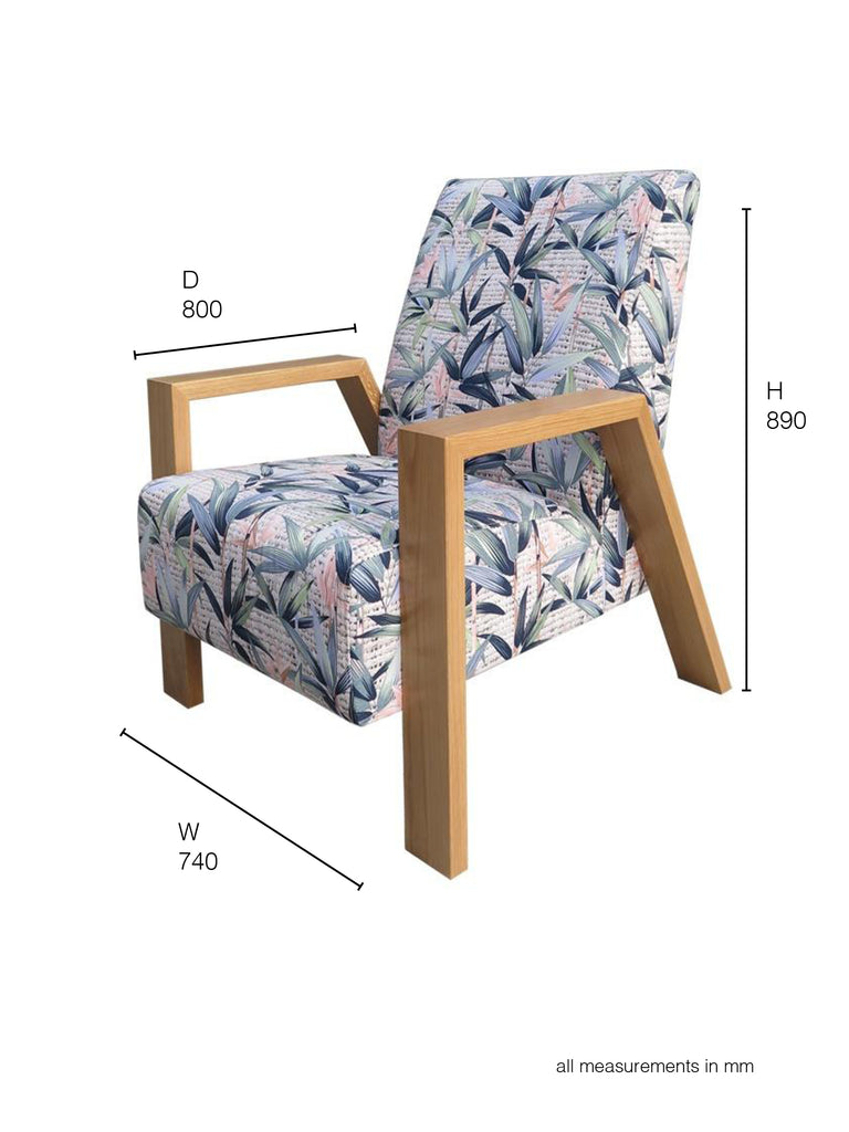 Mogambo Armchair pastel floral fabric and oak arms dimensions