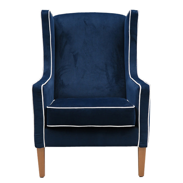 Partridge Armchair in  blue velvet with white piping
