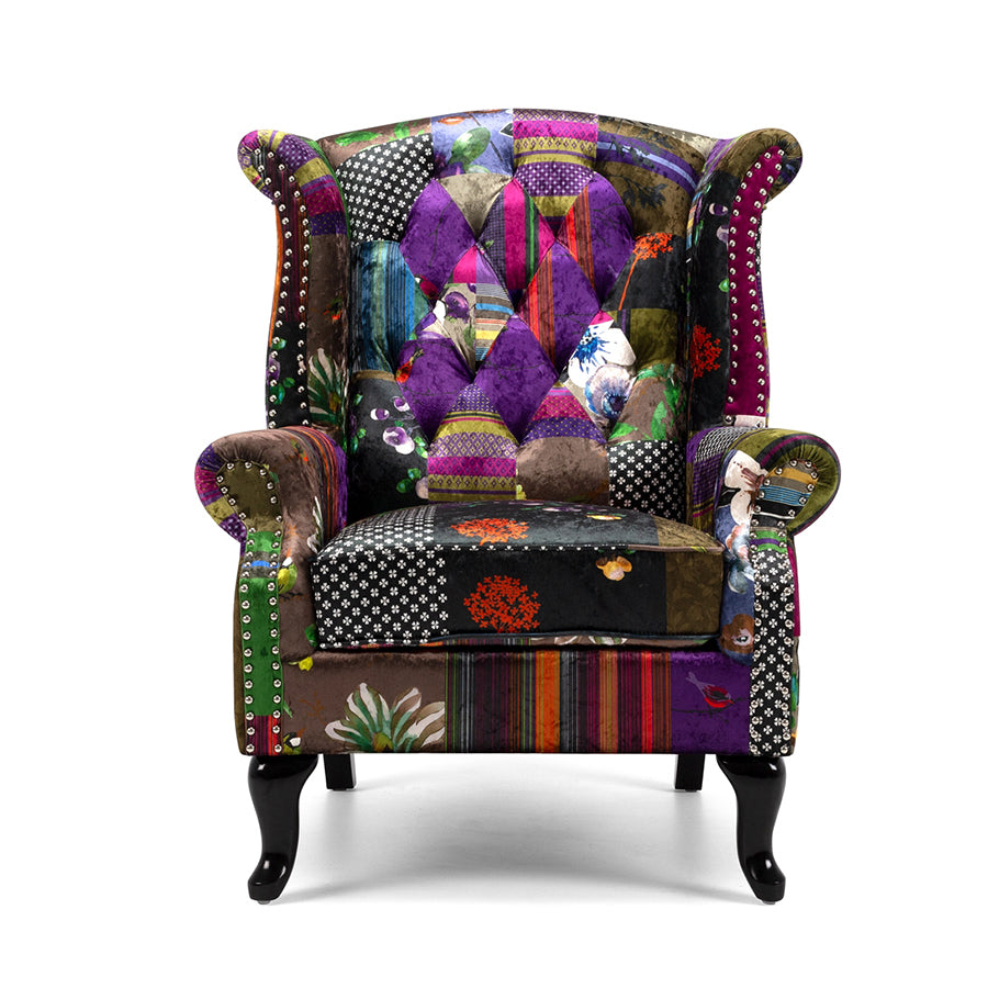 patchwork wing back armchair