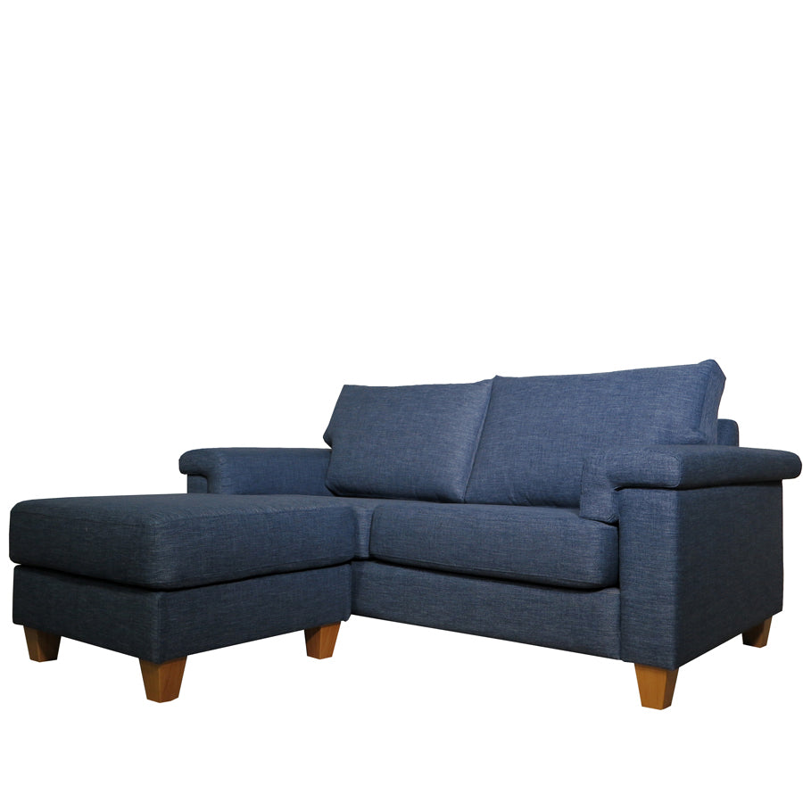 Palm Springs 2.5 Seat Sofa + Ottoman Front Angle Denim Blue