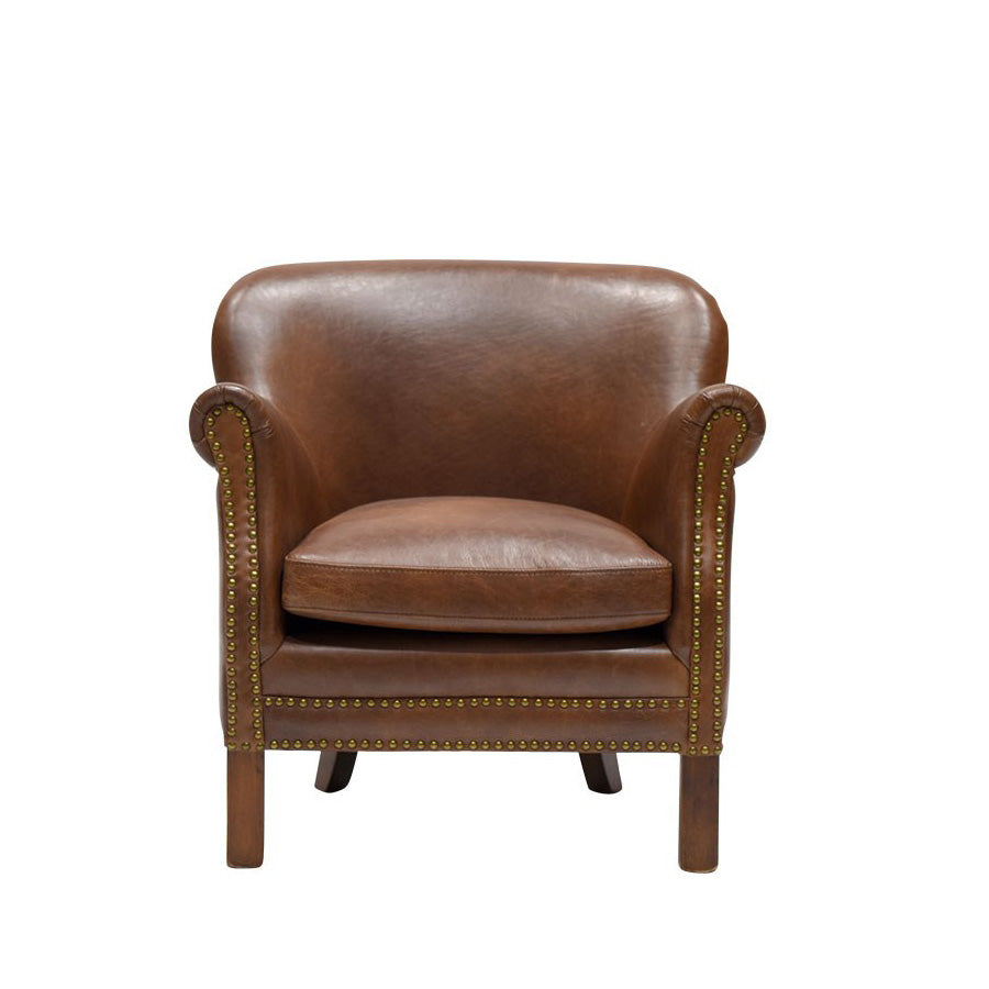 Rhodes Armchair - Brown Leather, rolled arms