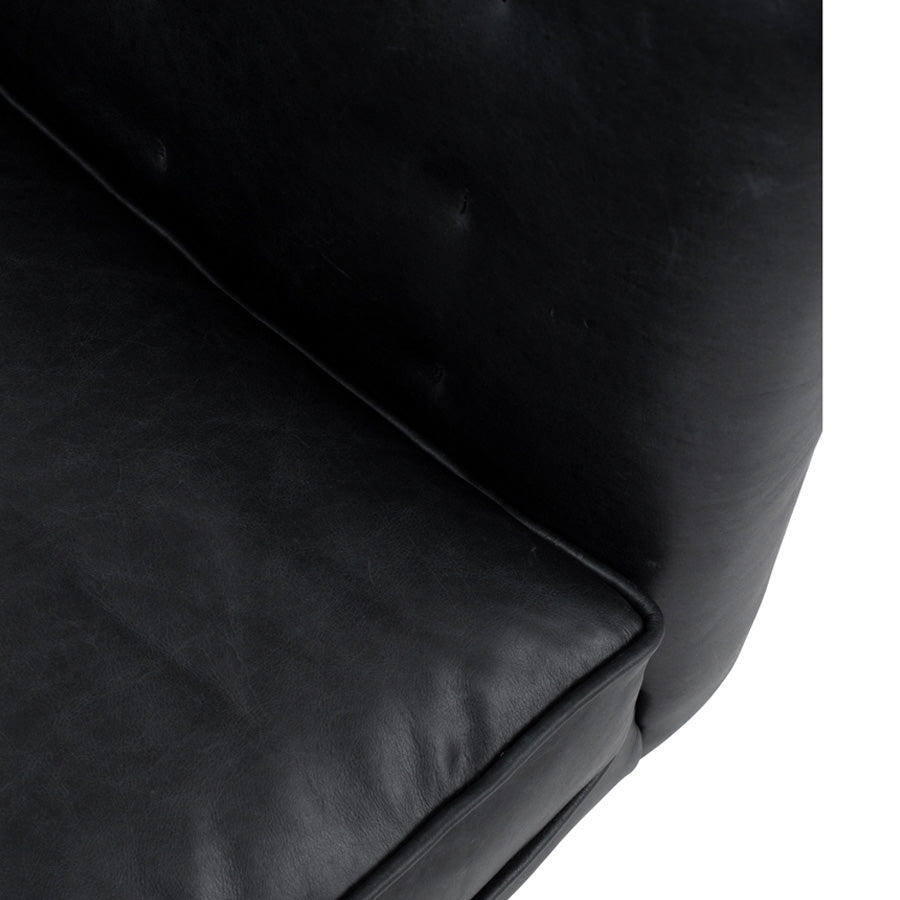 Yogi 3 seat Leather Sofa - Charme Black - seat piping