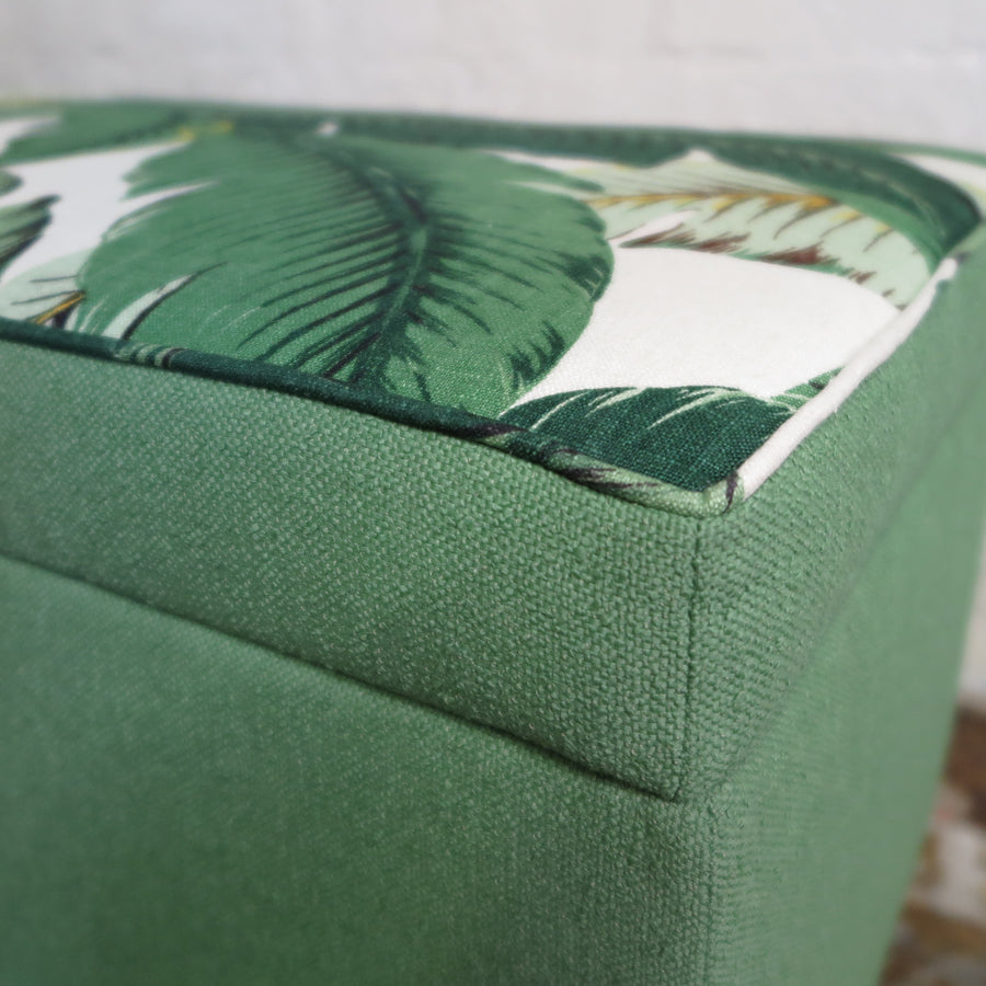 Tropical Palm+Nassau Forest storage ottoman, fabric detail