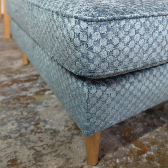 Pillow top ottoman - Brissaud Reef fabric & leg detail