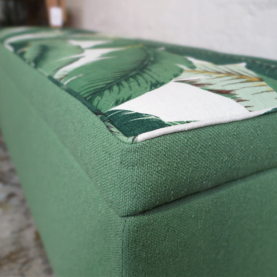 Tropical Palm+Nassau Forest storage ottoman, close up