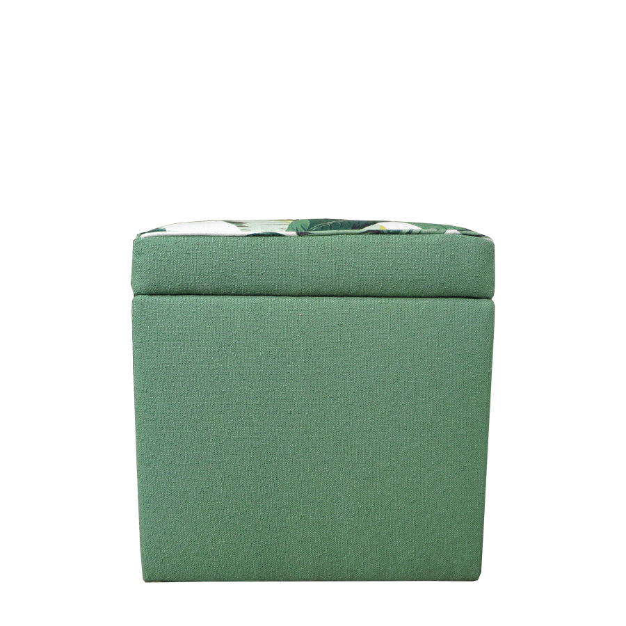 Tropical Palm+Nassau Forest storage ottoman , side view