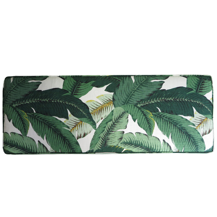 Tropical Palm+Nassau Forest storage ottoman, top view
