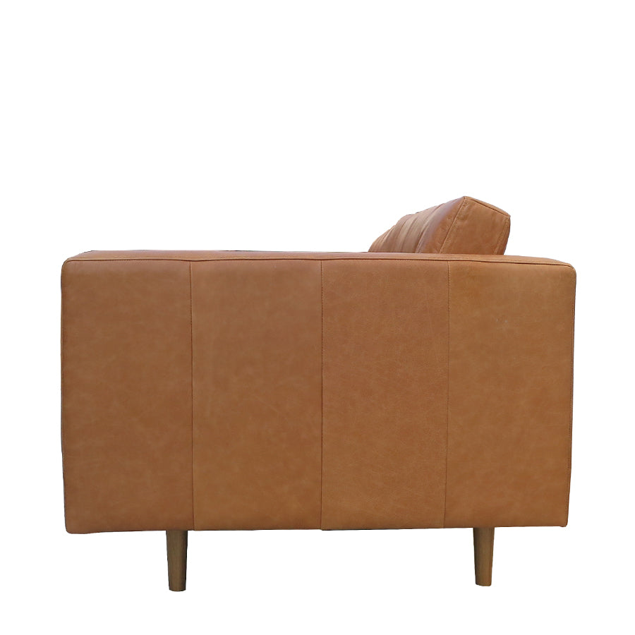 Hamptons Leather 3 Seat Sofa - Tan Leather