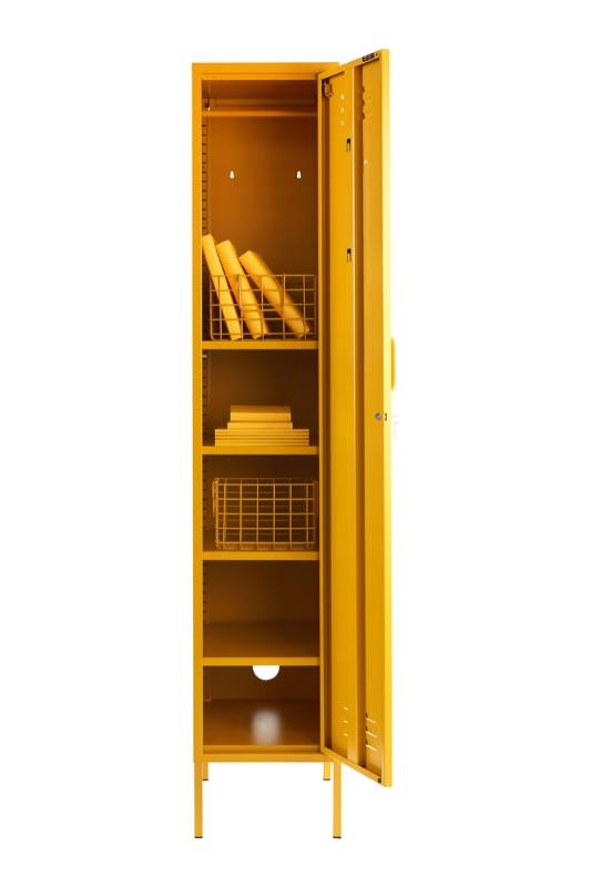skinny locker in mustard colour open door