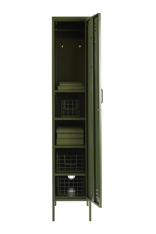 skinny locker in olive colour open door