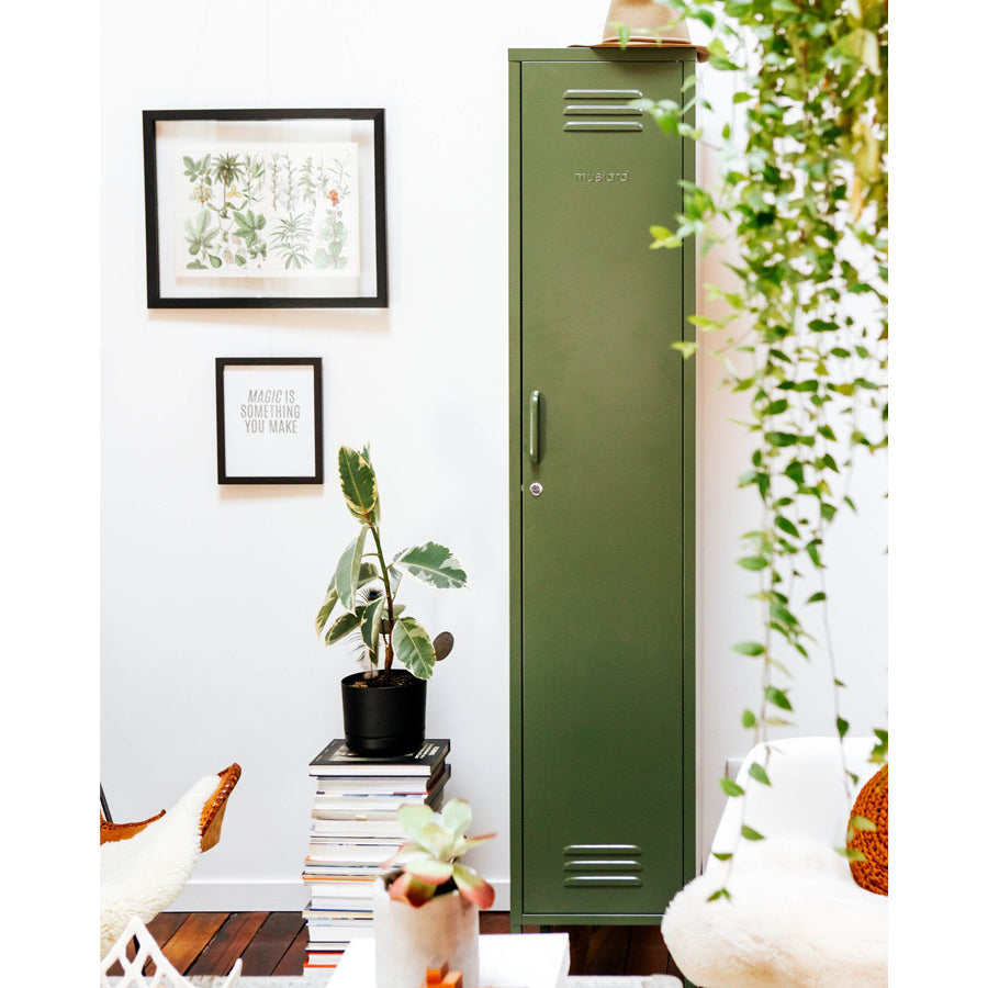 skinny locker in olive colour in kitchen