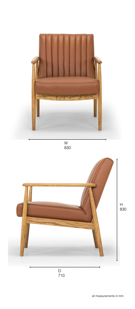 rapaki armchair tan leather oak arms dimensions