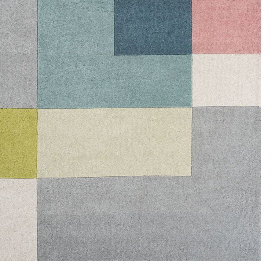 Tetris wool rug - lime
