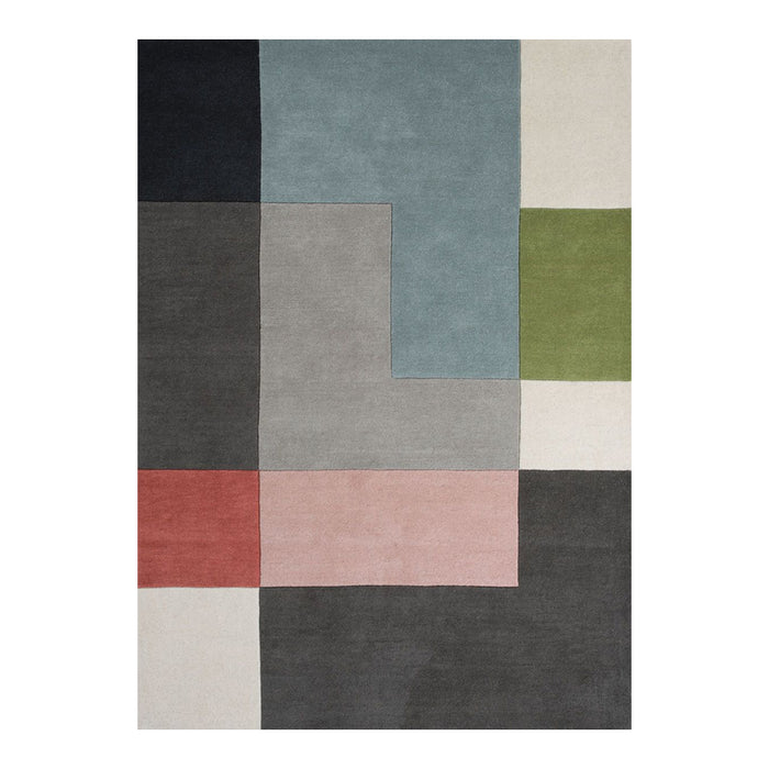 Tetris wool rug - powder