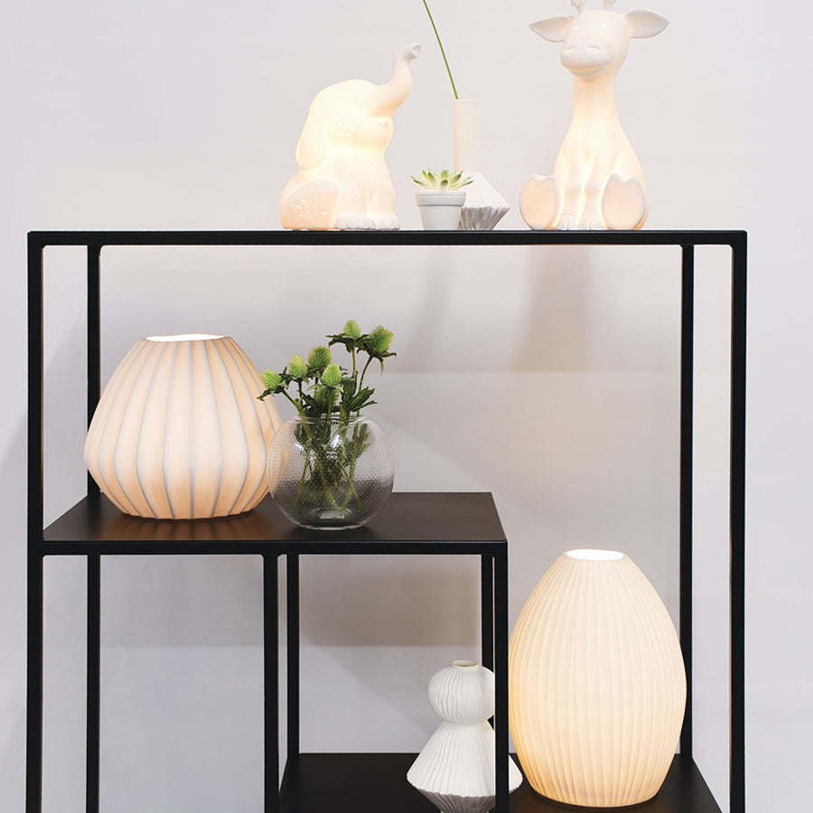 Matte Lines Table Lamp - White