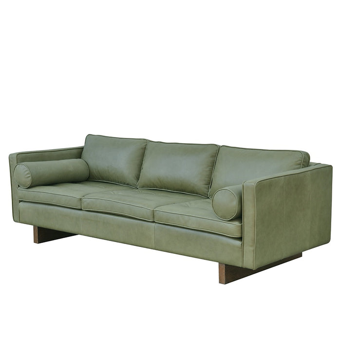 Mars Leather 3 Seat Sofa - Chalk Olive