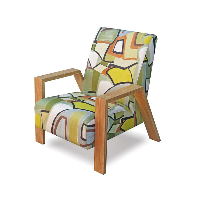 Mogambo Armchair in abstract print with oak arms