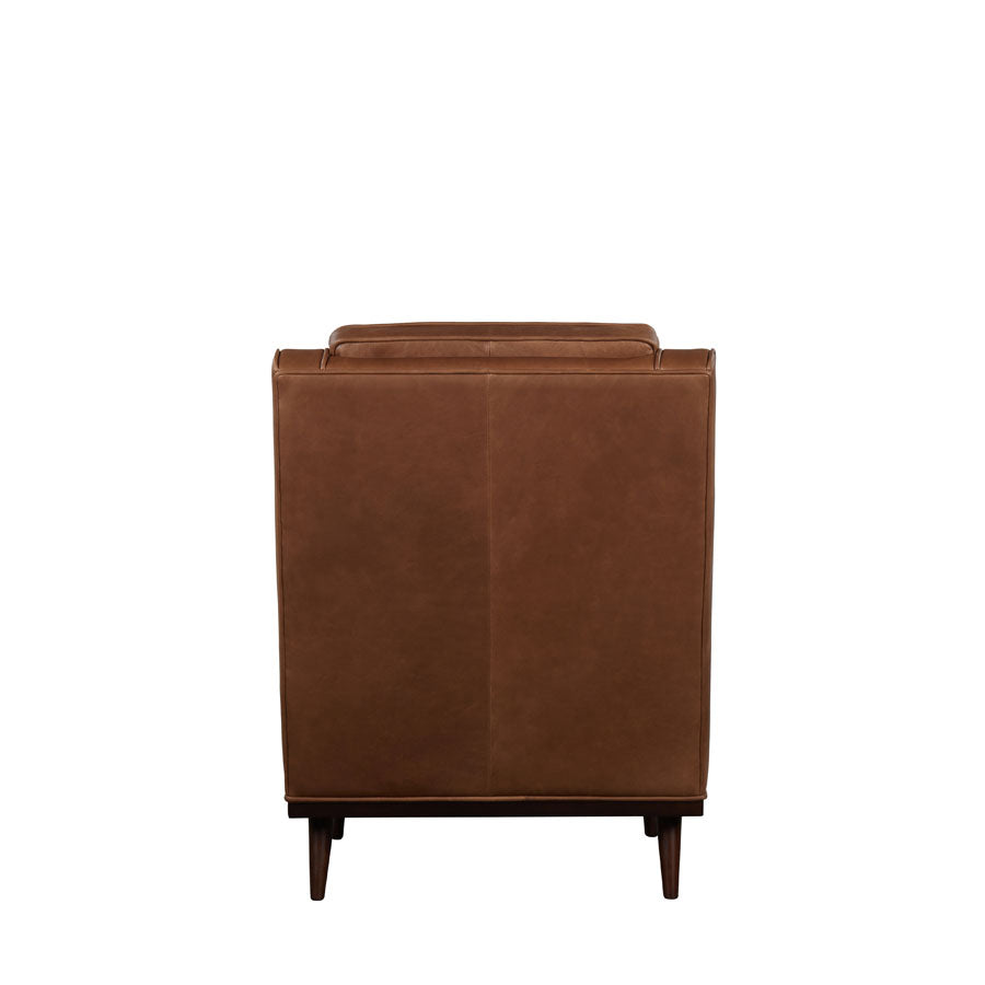 Cigar Armchair - Brown Leather -back