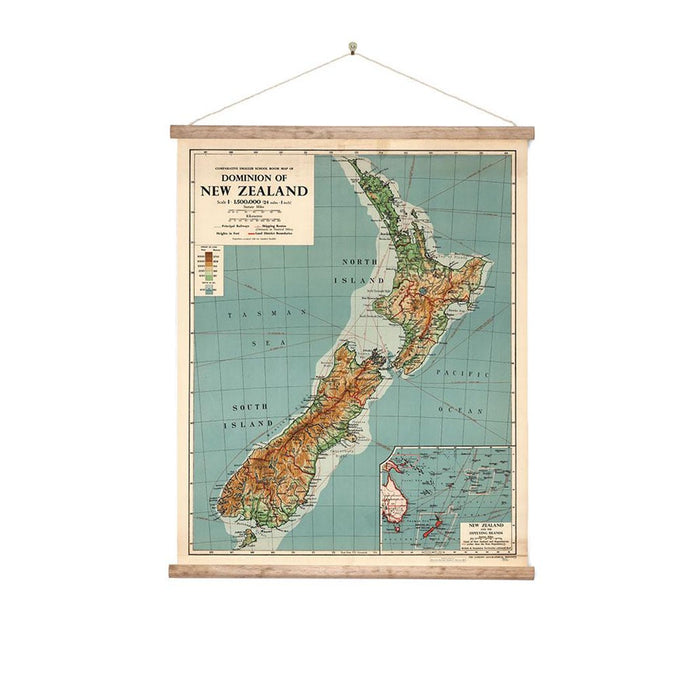 New Zealand Wall Chart - Canvas