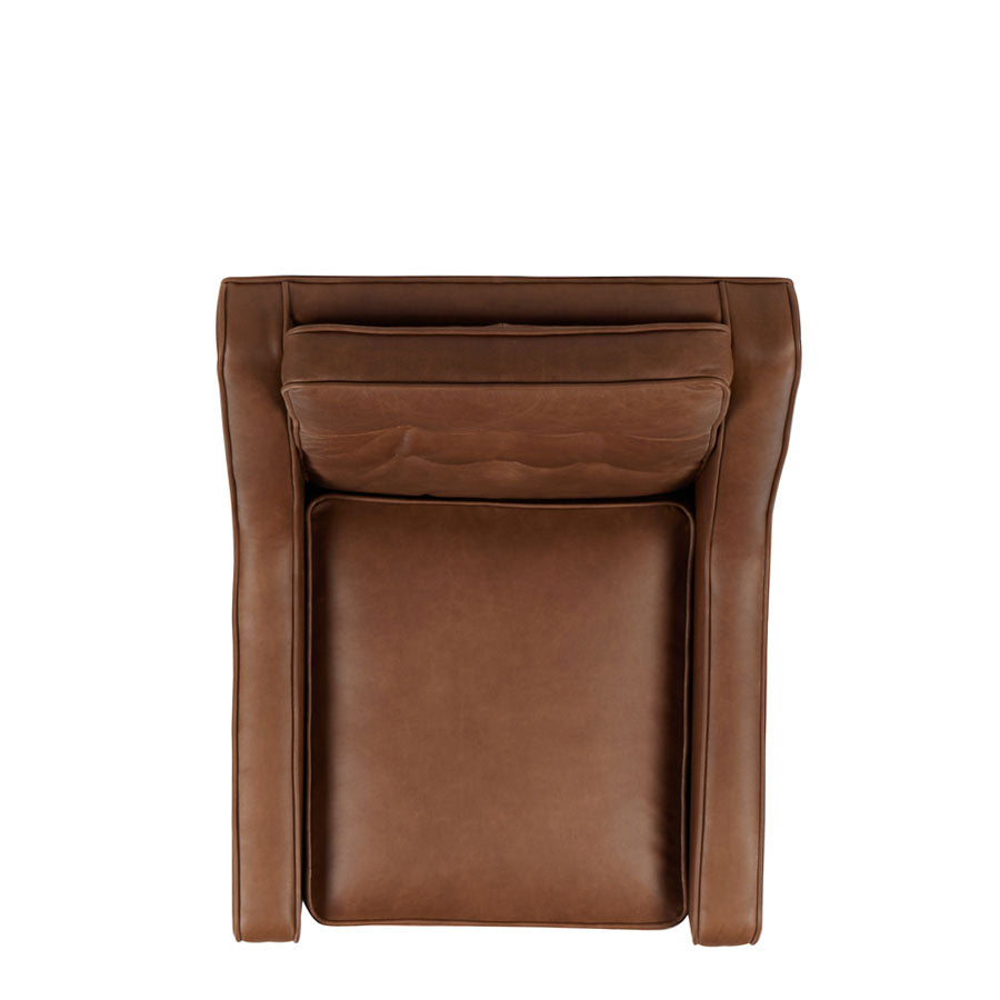 Cigar Armchair - Brown Leather -birds-eye view