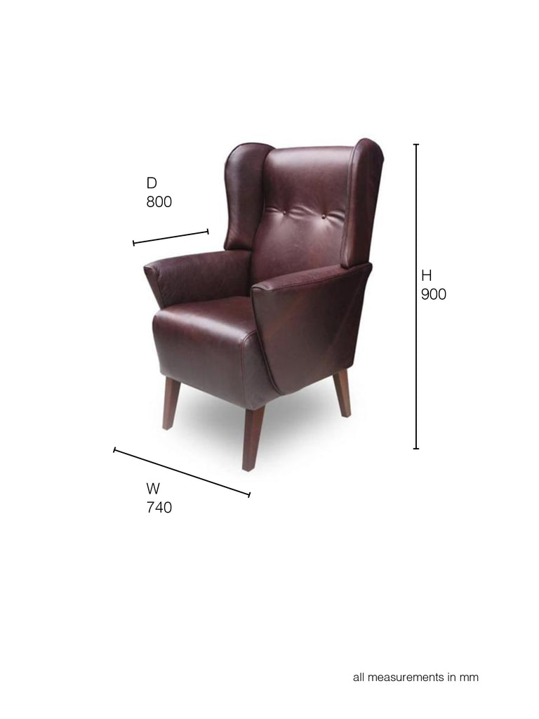 Lily Winged Armchair dimensions