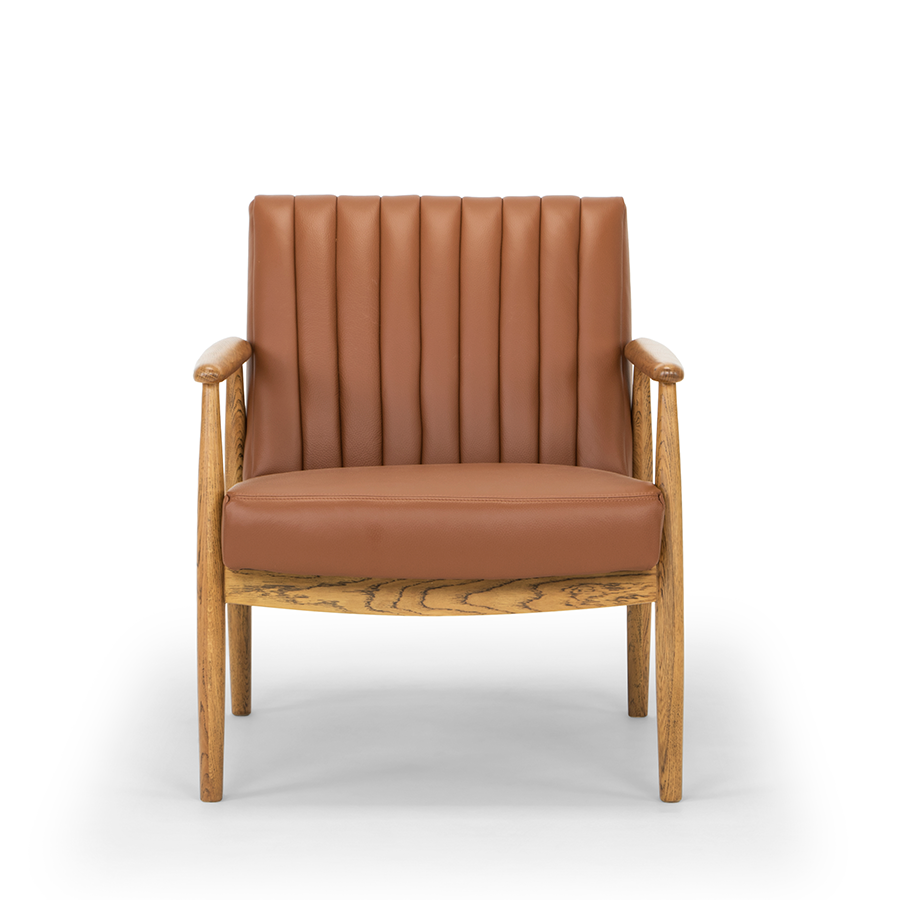 rapaki armchair tan leather oak arms