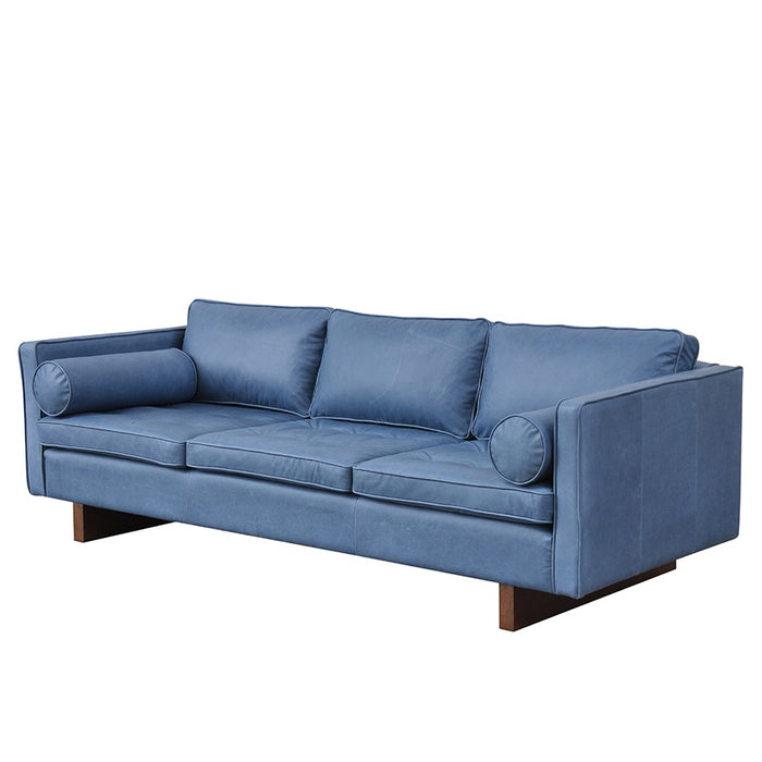 Mars Leather 3 Seat Sofa - Midnight