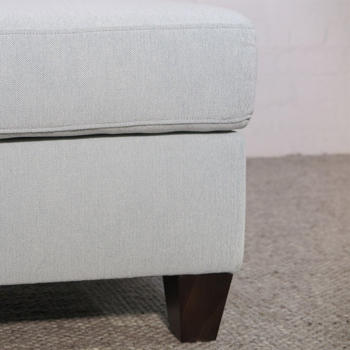 Custom pillow top ottoman- Rejoice (RENEW) Seafoam fabric-recycled fabric