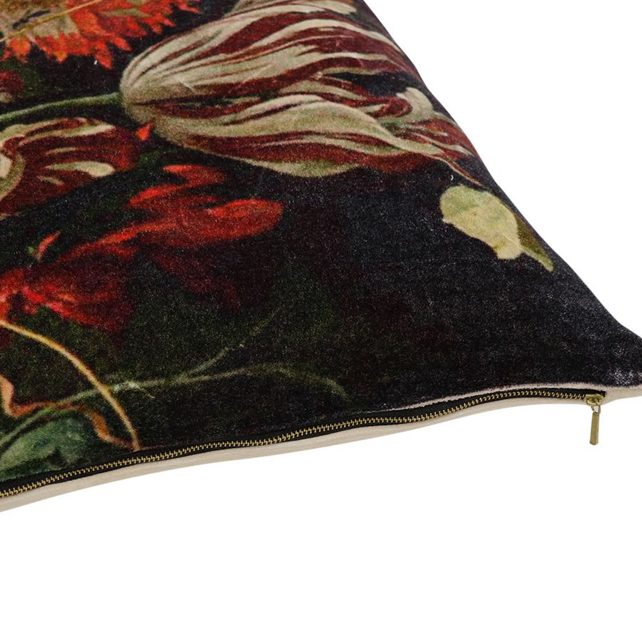 Sari Printed Cushion - Exotic Flower zip detail