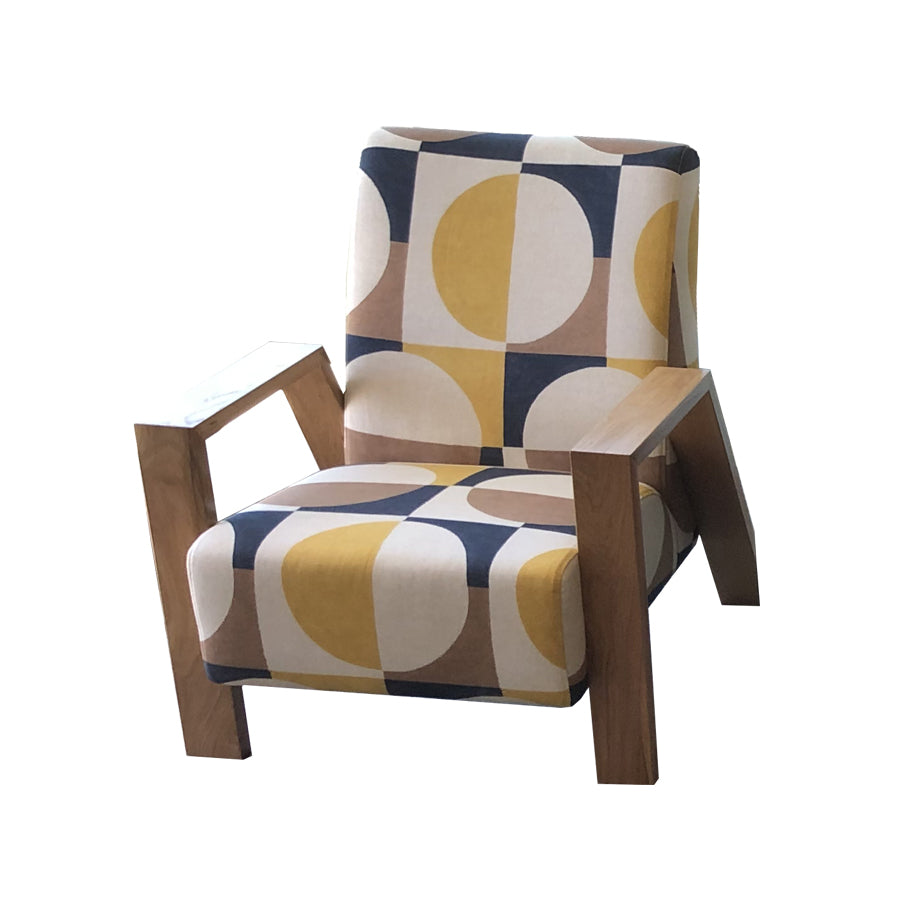 Mogambo Armchair geometric print with oak arms