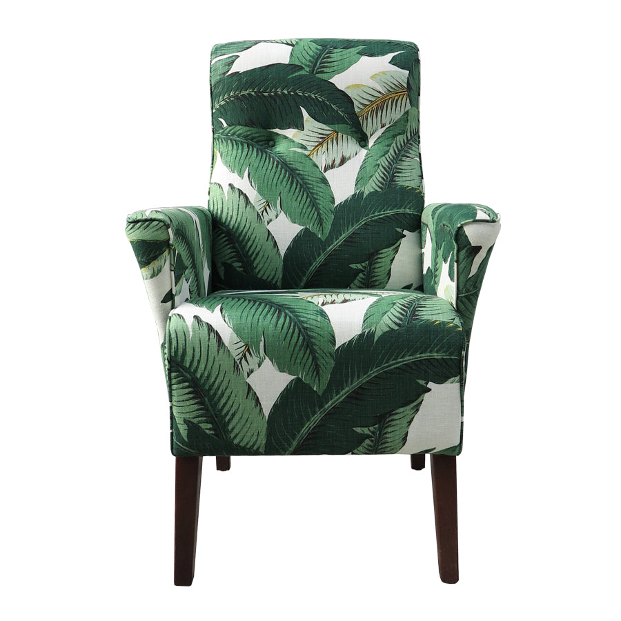 Lily Armchair in tropical leaf printed fabric