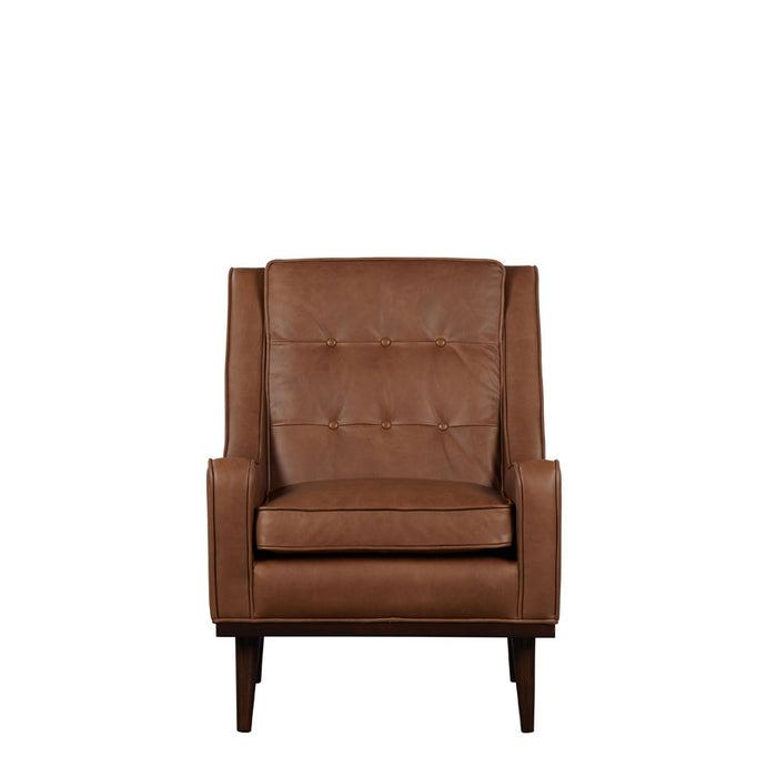 Cigar Armchair - Brown Leather - front