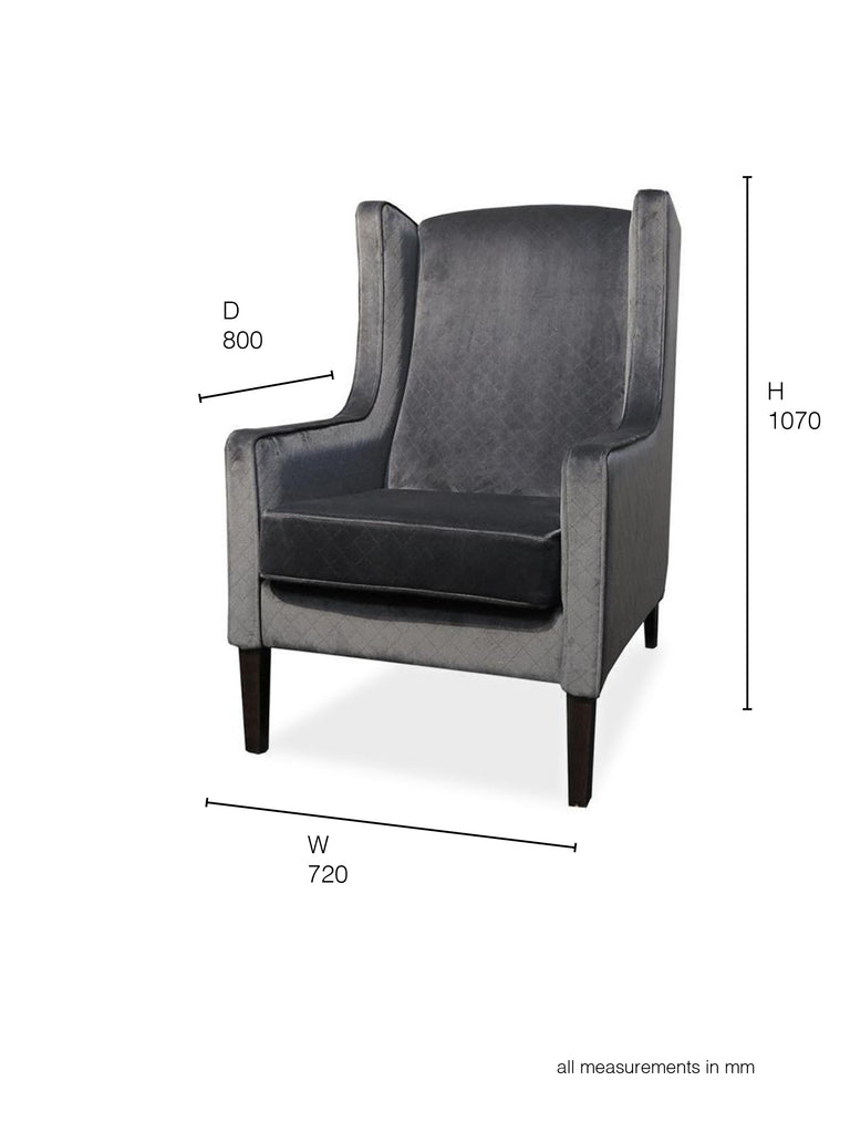Partridge Armchair grey velvet dimensions