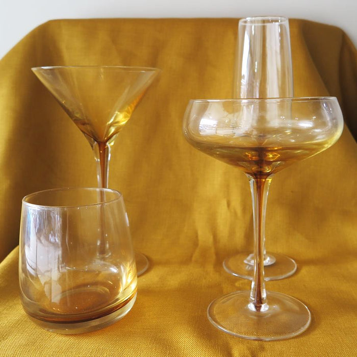 Amber Martini Glass - Set of 4
